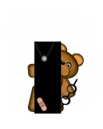 The letter I, in the alphabet set Teddy Doctor Visit, is black.  Teddy bear wearing a stethoscope and glasses decorates letter along with other medical tools and equipment.