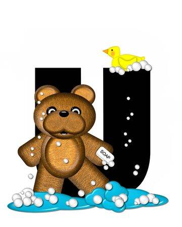 The letter U, in the alphabet set Teddy Bath Time, is black and sits on a pool of spilled bath water.  Brown teddy bear, bubbles and yellow duck decorate letter.