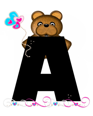 The letter A, in the alphabet set Teddy Valentines Cutie, is black.  Brown teddy bear holds heart shaped balloons in pink and blue.  String of pearls serve as string.