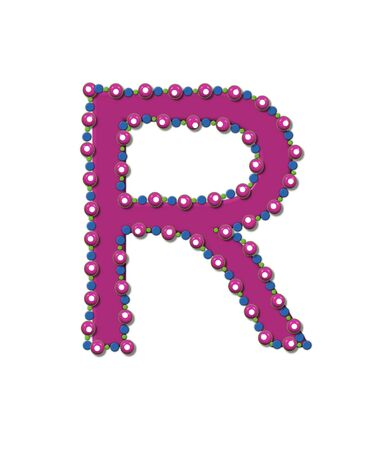 Letter R from Bead Alphabet is deep rose in color.  Letter is outlined completly in pink, blue and green beads and balls.
