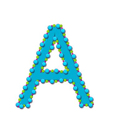 bead: Letter A from Bead Alphabet is bright turquoise in color.  Letter is outlined completly in pink, turquoise and green beads and balls.