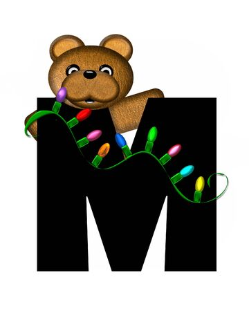 string of lights: The letter M, in the alphabet set Teddy Christmas Lights, is black. Teddy Bear holds a string of Christmas lights and decorates letter.
