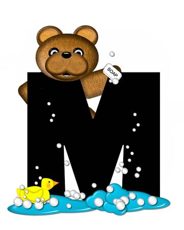 bathtime: The letter M, in the alphabet set Teddy Bath Time, is black and sits on a pool of spilled bath water.  Brown teddy bear, bubbles and yellow duck decorate letter.