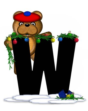 boughs: The letter W, in the alphabet set Teddy Christmas Boughs, is black and sits on pile of snow.  Teddy Bear wearing cap and mittens, decorates letter with Christmas boughs and ornaments.