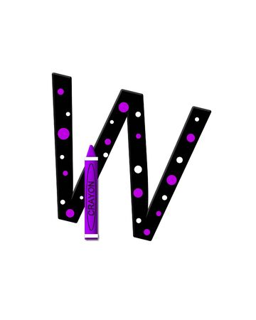 further: The letter W, in the alphabet set Black to School, is black with polka dots.  A crayon is added for further decoration.