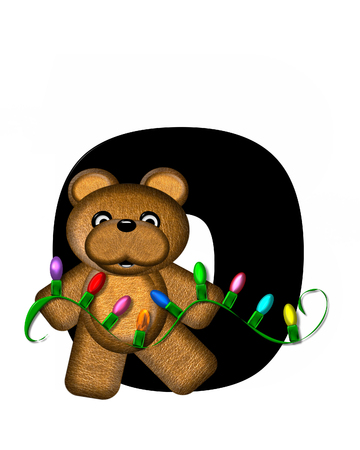 teddy bear christmas: The letter O, in the alphabet set Teddy Christmas Lights, is black. Teddy Bear holds a string of Christmas lights and decorates letter. Stock Photo