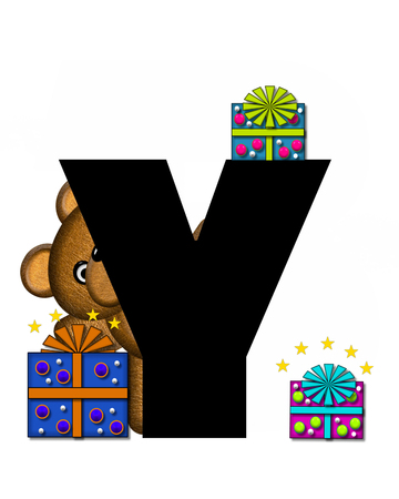 gift wrapped: The letter Y, in the alphabet set Teddy Gifts Galore, is black.  Teddy bear, gift wrapped packages and stars decorate letter.