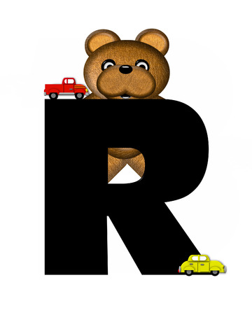r transportation: The letter R, in the alphabet set Teddy Driving Cars, is black. Teddy bear decorates letter and drives his toy cars.