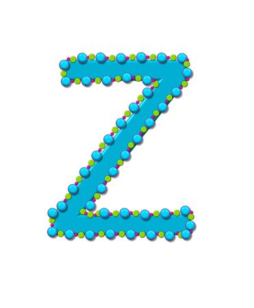 Letter Z from Bead Alphabet is bright turquoise in color.  Letter is outlined completly in pink, turquoise and green beads and balls. Stock Photo