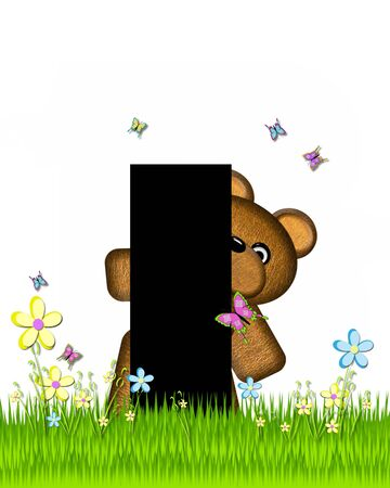 grassy field: The letter I, in the alphabet set Teddy Butterfly Field, is black.  Teddy bear chases colorful butterflies across a grassy field with wildflowers.