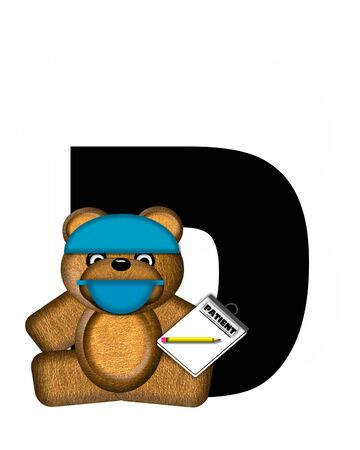 patient chart: The letter D, in the alphabet set Teddy Dental Checkup, is black.  Teddy bear wearing a dental mask and hat represents dentist holding various dental tools and equipment. Stock Photo