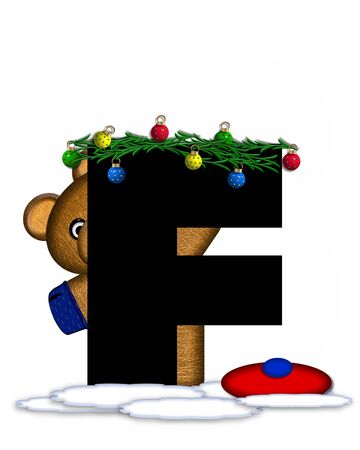 boughs: The letter F, in the alphabet set Teddy Christmas Boughs, is black and sits on pile of snow.  Teddy Bear wearing cap and mittens, decorates letter with Christmas boughs and ornaments.