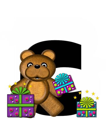 gift wrapped: The letter C, in the alphabet set Teddy Gifts Galore, is black.  Teddy bear, gift wrapped packages and stars decorate letter.