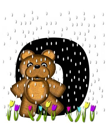 april showers: The letter O, in the alphabet set Teddy April Showers, is black.  Brown teddy bear and flowers decorate letter.  Tulips bloom as April showers fall.