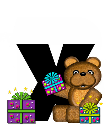 gift wrapped: The letter X, in the alphabet set Teddy Gifts Galore, is black.  Teddy bear, gift wrapped packages and stars decorate letter. Stock Photo