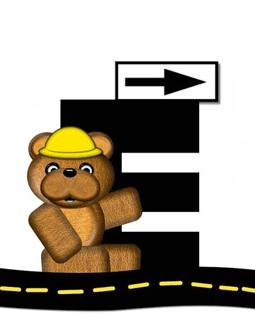 highway signs: The letter E, in the alphabet set Teddy Highway Work, is black and sits on black highway. Teddy bear, hard hat, and highway signs decorate letter.