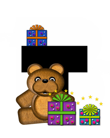 gift wrapped: The letter T, in the alphabet set Teddy Gifts Galore, is black.  Teddy bear, gift wrapped packages and stars decorate letter.