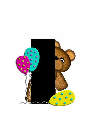 """letras negras: La letra I, en el conjunto de alfabeto de """"Teddy Cumpleaños"""", es negro. Conjunto del alfabeto tiene oso de peluche, sombrero de fiesta y globos decorando las letras."""