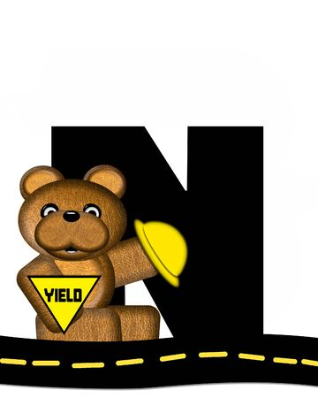 highway signs: The letter N, in the alphabet set Teddy Highway Work, is black and sits on black highway. Teddy bear, hard hat, and highway signs decorate letter. Stock Photo