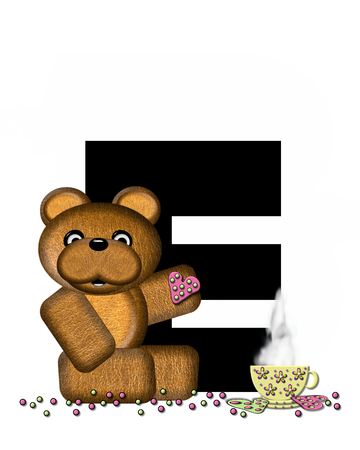 frosted: The letter E, in the alphabet set Teddy Tea Time, is black.  Teddy bear enjoys a cup of hot tea with heart shaped and frosted cookies.  Candy sprinkles cover floor. Stock Photo