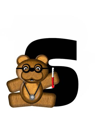 bear s: The letter S, in the alphabet set Teddy Doctor Visit, is black.  Teddy bear wearing a stethoscope and glasses decorates letter along with other medical tools and equipment.