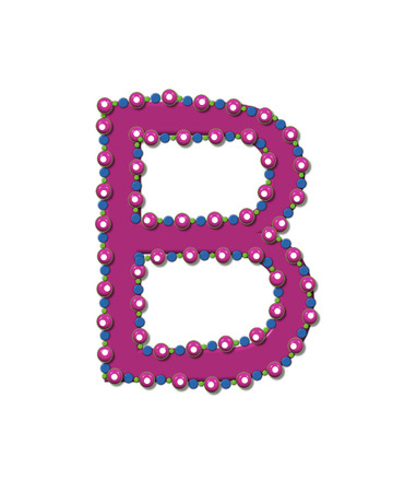 bead: Letter B from Bead Alphabet is deep rose in color.  Letter is outlined completly in pink, blue and green beads and balls.