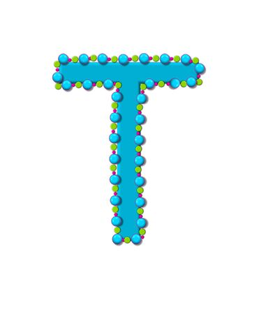bead: Letter T from Bead Alphabet is bright turquoise in color.  Letter is outlined completly in pink, turquoise and green beads and balls. Stock Photo