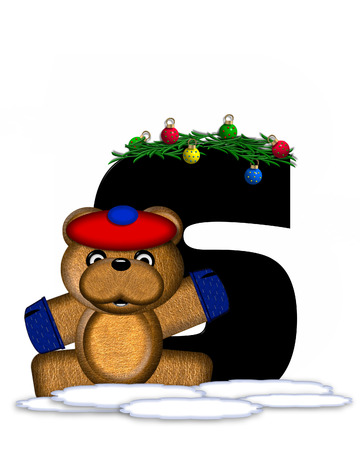 boughs: The letter S, in the alphabet set Teddy Christmas Boughs, is black and sits on pile of snow.  Teddy Bear wearing cap and mittens, decorates letter with Christmas boughs and ornaments. Stock Photo