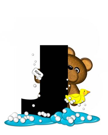 bathtime: The letter J, in the alphabet set Teddy Bath Time, is black and sits on a pool of spilled bath water.  Brown teddy bear, bubbles and yellow duck decorate letter. Stock Photo