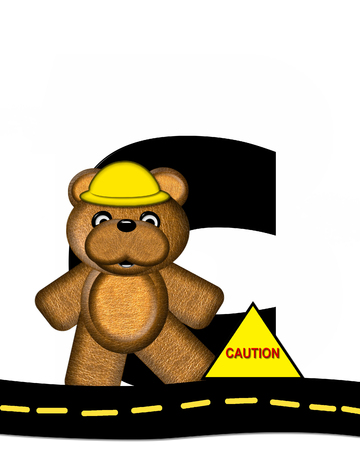 highway signs: The letter C, in the alphabet set Teddy Highway Work, is black and sits on black highway. Teddy bear, hard hat, and highway signs decorate letter. Stock Photo