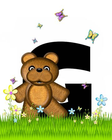 grassy field: The letter G, in the alphabet set Teddy Butterfly Field, is black.  Teddy bear chases colorful butterflies across a grassy field with wildflowers.