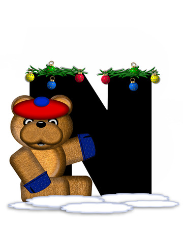 boughs: The letter N, in the alphabet set Teddy Christmas Boughs, is black and sits on pile of snow.  Teddy Bear wearing cap and mittens, decorates letter with Christmas boughs and ornaments.