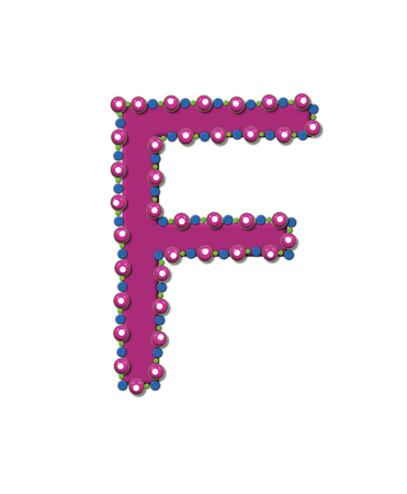 bead: Letter F from Bead Alphabet is deep rose in color.  Letter is outlined completly in pink, blue and green beads and balls.