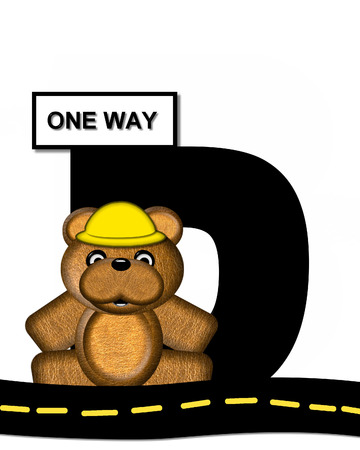 highway signs: The letter D, in the alphabet set Teddy Highway Work, is black and sits on black highway. Teddy bear, hard hat, and highway signs decorate letter.