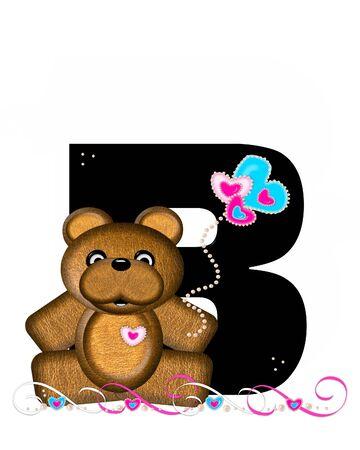 """알파벳 """"Teddy Valentine 's Cutie""""의 문자 B는 검은 색입니다. 갈색 곰 심장 모양의 풍선 핑크와 블루에 보유하고있다. 진주의 끈은 끈으로 봉사한"""