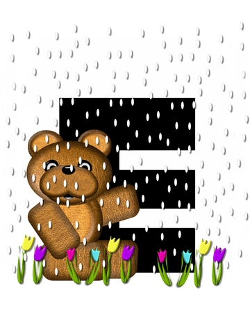 showers: The letter E, in the alphabet set Teddy April Showers, is black.  Brown teddy bear and flowers decorate letter.  Tulips bloom as April showers fall. Stock Photo