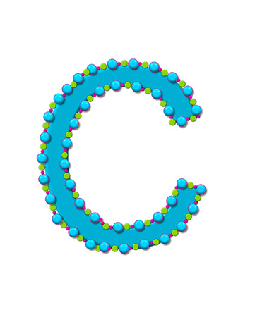 Letter C from Bead Alphabet is bright turquoise in color.  Letter is outlined completly in pink, turquoise and green beads and balls.