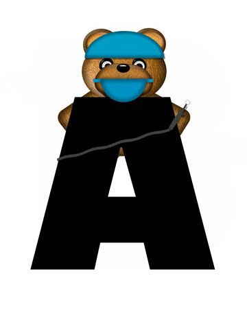 checkup: The letter A, in the alphabet set Teddy Dental Checkup, is black.  Teddy bear wearing a dental mask and hat represents dentist holding various dental tools.