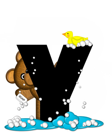 spilled: The letter Y, in the alphabet set Teddy Bath Time, is black and sits on a pool of spilled bath water.  Brown teddy bear, bubbles and yellow duck decorate letter.