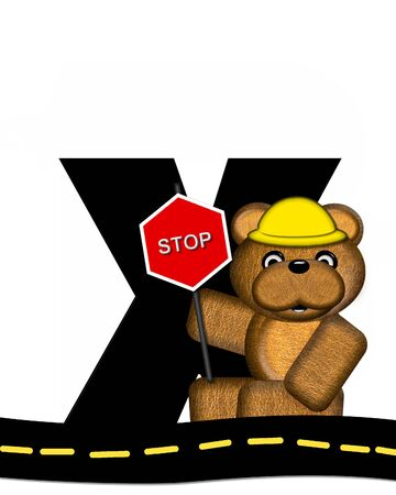 highway signs: The letter X, in the alphabet set Teddy Highway Work, is black and sits on black highway. Teddy bear, hard hat, and highway signs decorate letter.