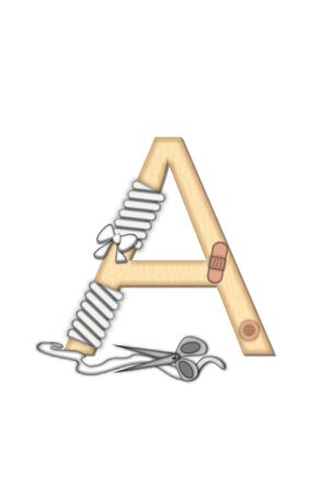 doctoring: Alphabet letter A, in the set Boo Boo, is tan to represent the color of skin.  Each letter is bandaged and has bandage applied.