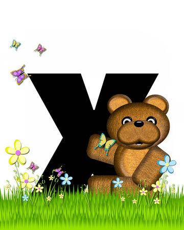 grassy field: The letter X, in the alphabet set Teddy Butterfly Field, is black.  Teddy bear chases colorful butterflies across a grassy field with wildflowers. Stock Photo