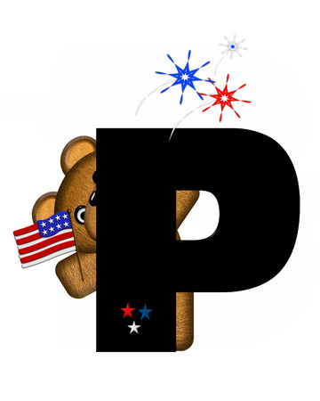 independance day: The letter P, in the alphabet set Teddy 4th of July, is black.  Brown teddy bear holds American flag.  Fireworks in red, white and blue explode around him.