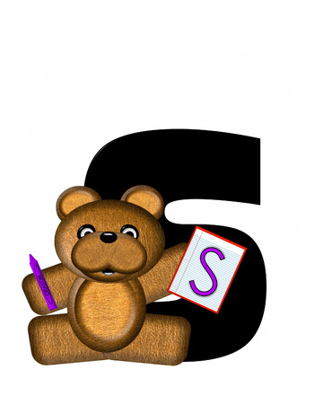 bear s: The letter S, in the alphabet set Teddy Homework, is black with white background.  Borwn Teddy Bear decorates letter and is holding homework paper with matching alphabet letter.