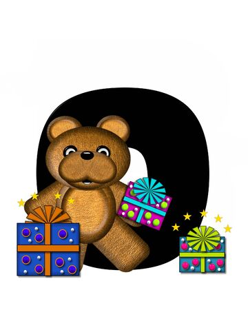 gift wrapped: The letter O, in the alphabet set Teddy Gifts Galore, is black.  Teddy bear, gift wrapped packages and stars decorate letter.
