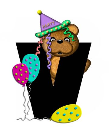 The letter V, in the alphabet set Teddy Birthday, is black.  Teddy bear, party hat, and balloons decorate letter.