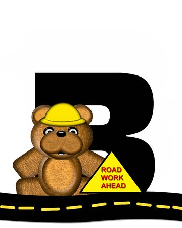 highway signs: The letter B, in the alphabet set Teddy Highway Work, is black and sits on black highway. Teddy bear, hard hat, and highway signs decorate letter. Stock Photo