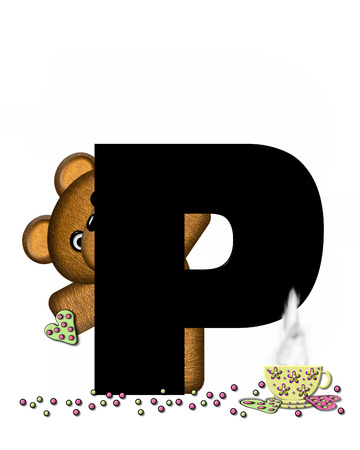 frosted: The letter P, in the alphabet set Teddy Tea Time, is black.  Teddy bear enjoys a cup of hot tea with heart shaped and frosted cookies.  Candy sprinkles cover floor.