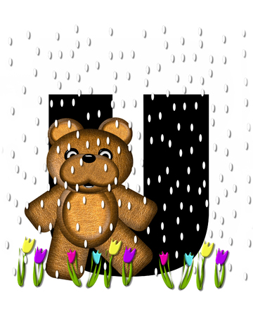 april showers: The letter U, in the alphabet set Teddy April Showers, is black.  Brown teddy bear and flowers decorate letter.  Tulips bloom as April showers fall. Stock Photo