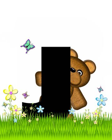 grassy field: The letter J, in the alphabet set Teddy Butterfly Field, is black.  Teddy bear chases colorful butterflies across a grassy field with wildflowers.